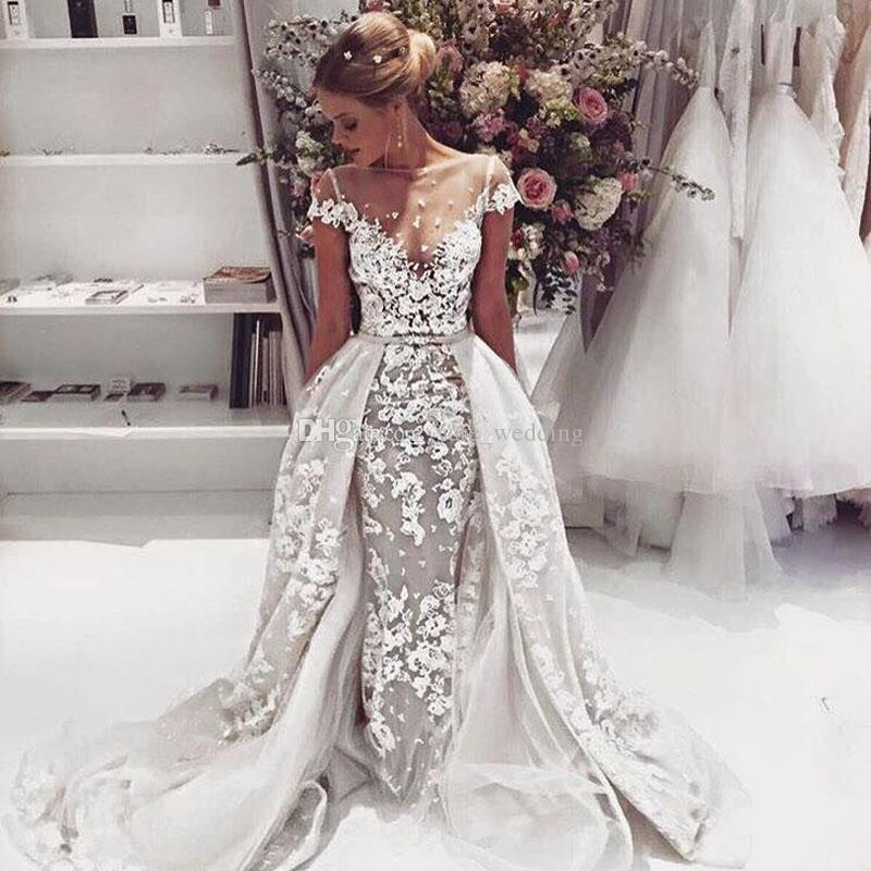 2018 Gorgeous Wedding Dresses Sheer Neck Cap Sleeves Illusion Bodice Appliques Tulle Over Skirt Backless Wedding Gowns Elegant Bridal Dress