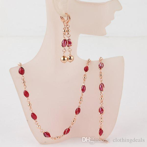 85230ccaad5 2019 Fashion Crystal African Beads Jewelry Sets Gold Color Wedding Bridal Jewelry  Sets Women Necklace Earrings Bracelets Jewellery From Clothingdeals, ...