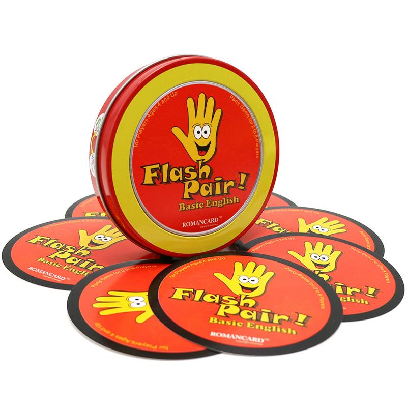 Romancard spot Flash Pair Basic English it has metal box card game for kids learning English board game