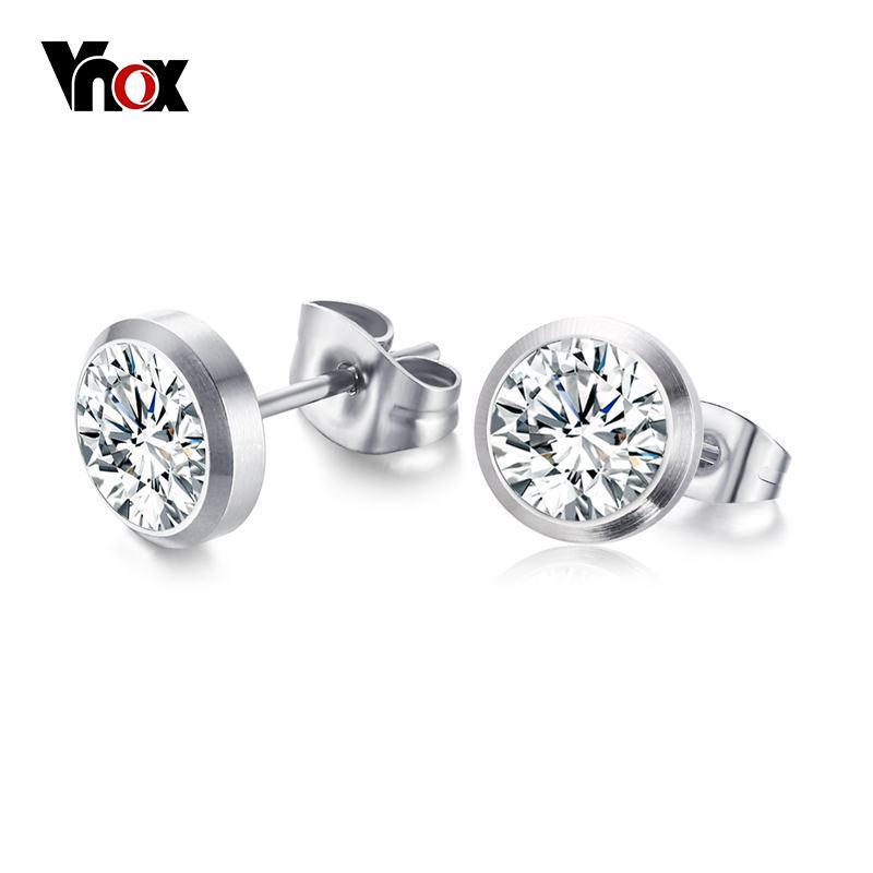 Vnox CZ Taş Klasik Kadınlar için Basit Damızlık Küpe Gümüş renk Zarif kadın Küpe Takı