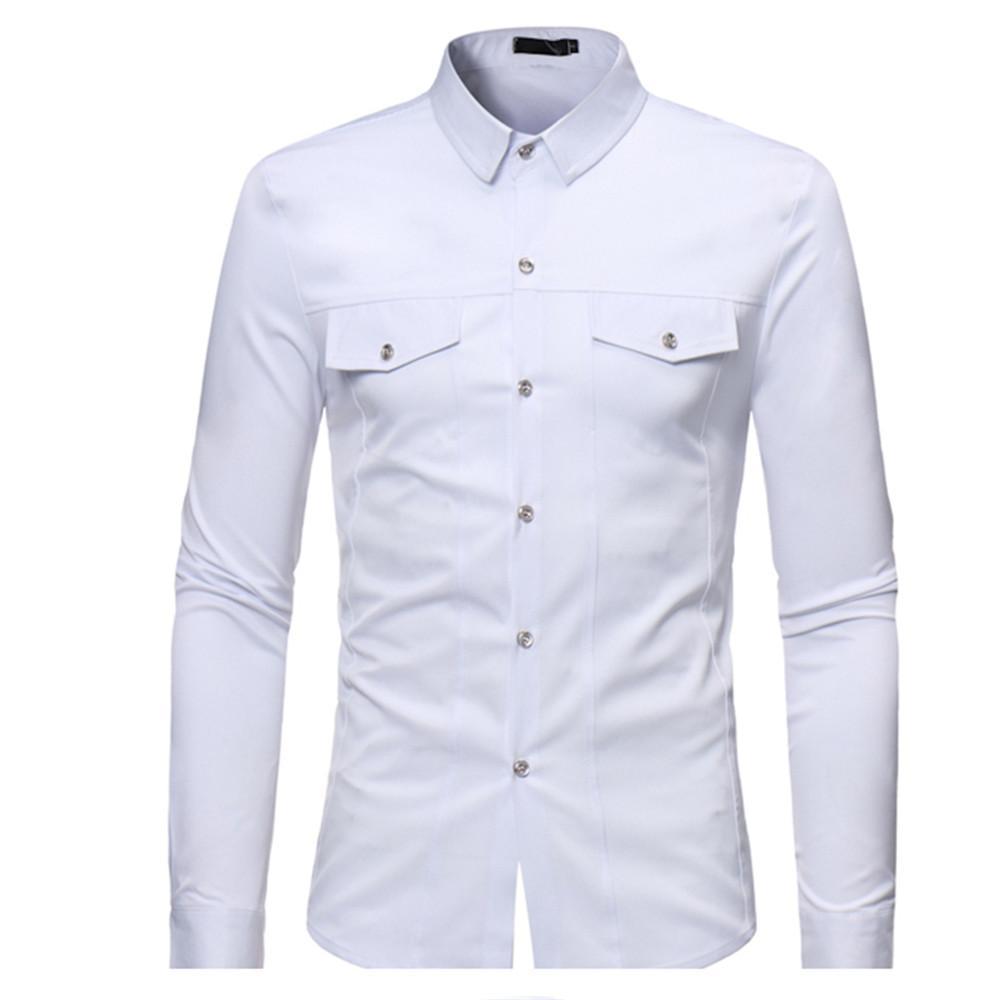 0a39f80dd63 Compre Camisa Blanca Oficina Breve Venta Caliente Streetwear Blusa Moda  Nueva Llegada Blusa Tops De Manga Larga Para Hombre Camisas Blusas  Masculinas ...