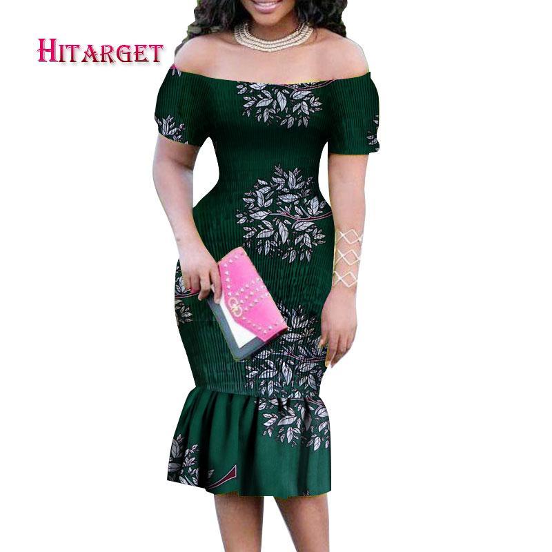 d94f8cc2adec Sommer afrikanische Kleider für Frauen 2018 kurzen Ärmeln und Knie Kleid  afrikanischen Print Baumwollkleidung für Frauen Kleid WY085