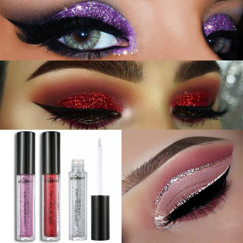 Fshes Fashion Glitter Eyeliner Makeup Silver Gold Shining