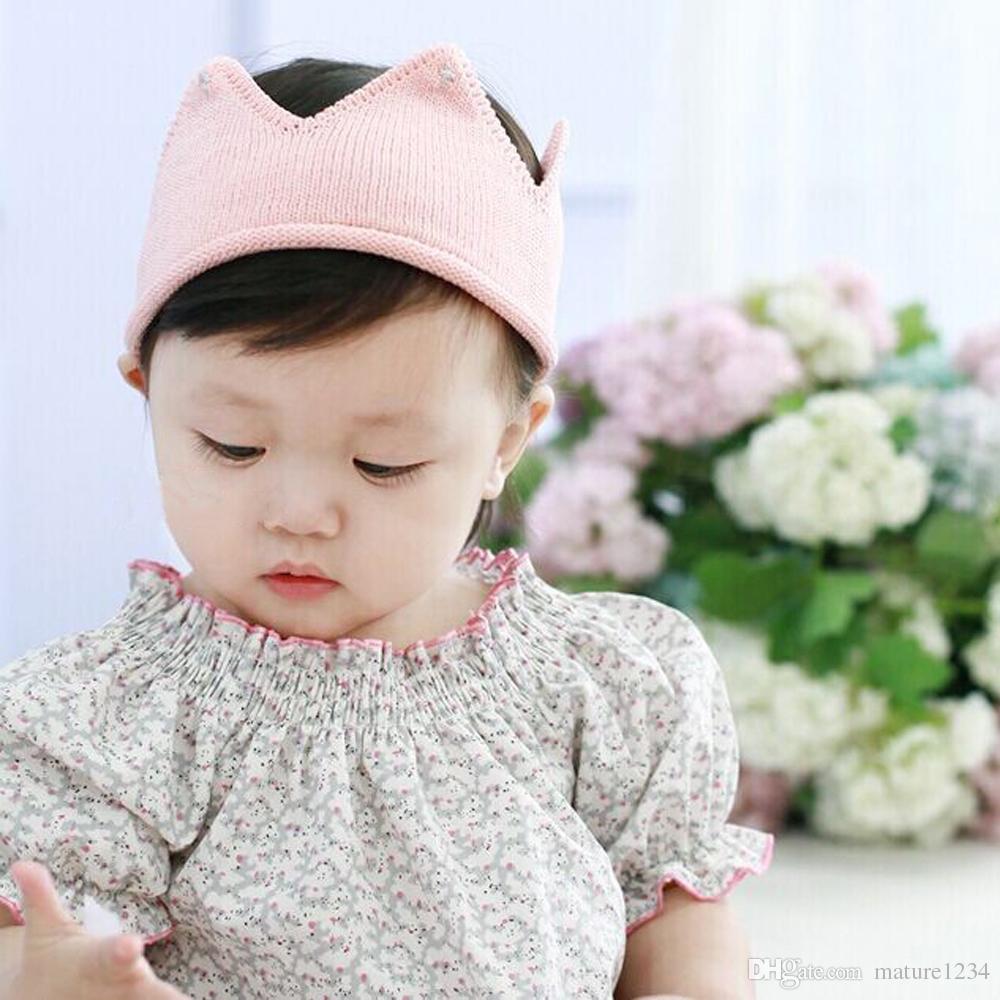 Vogue Newborn Infant Baby Boys Girls Princess Headband Children Crochet Knitted Queen King Crown Tiara Headwear Hair Accessories