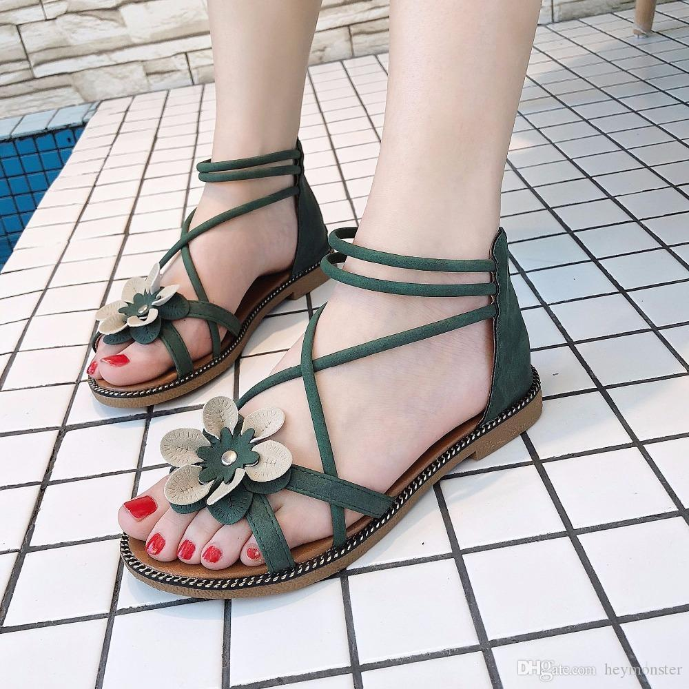 46bbad904c1 2018 Fashion Flower Summer Women Sandals Gladiator Women Shoes Roman Sandals  Shoes Peep Toe Flat Sandals Casual Mujer Sandalias Shoes For Sale Womens ...