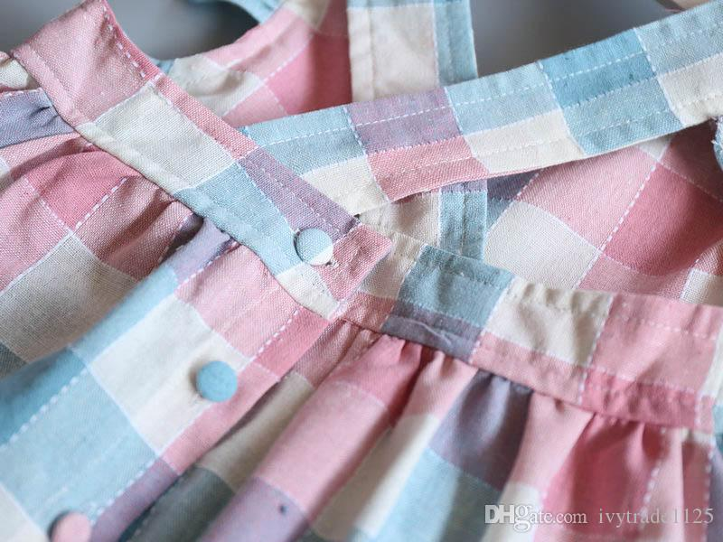 2018 INS sıcak satış yaz kız çocuklar ekose ruffles elbise çocuklar yuvarlak yaka kolsuz geri zarif elbise oymak