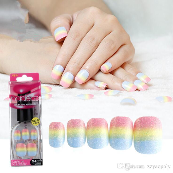 Rainbow Fake Nail Art Decoration Striated Short Square White Head ...