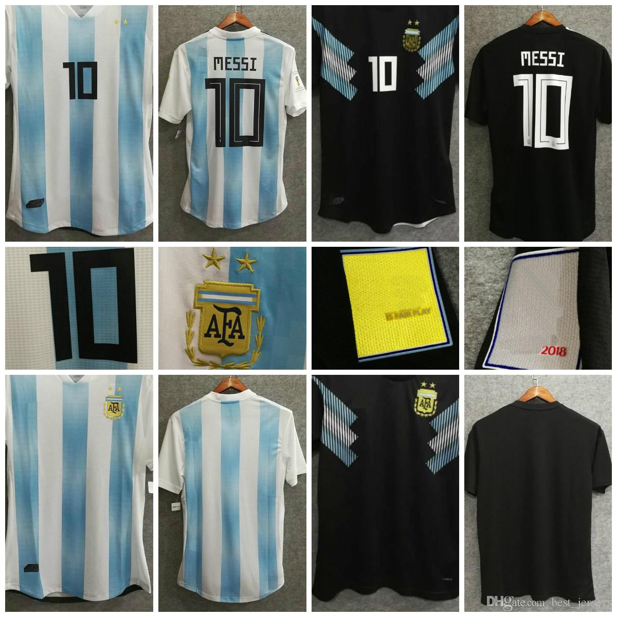 ecbd9717e9c 2019 2018 World Cup Argentina Soccer Jerseys 10 MESSI KUN AGUERO MARADONA  HIGUAIN DI MARIA LAMELA ICustom Football Shirts Home Away From  Best_jerseys, ...
