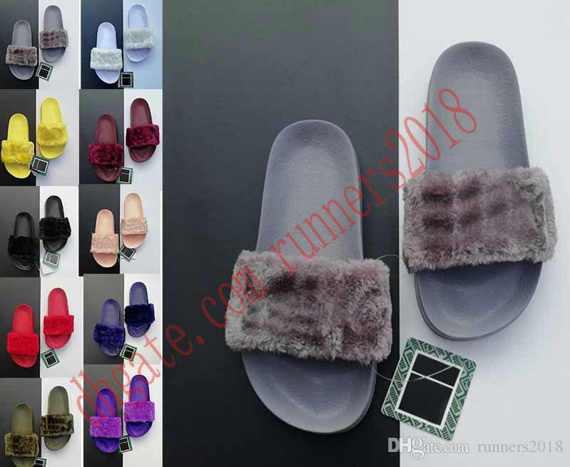 2018 Leadcat Fenty Rihanna Faux Fur Slippers Women Girls Sandals Fashion Scuffs Black Pink Red Grey Blue Slides High Quality With Box cheap sale big sale get authentic sale online official site online zWOXaYXn63