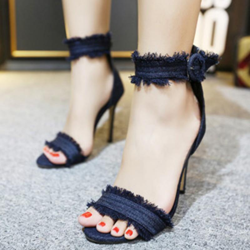 Compre Bombas Moda Zapatos De Tacones Altos Zapatos De Mujer De Boda  Chaussure Femme Denim Sandalias De Tacón Alto Zapatos Mujer Tacones A   24.13 Del Brew ... a5f6c1e68b3c