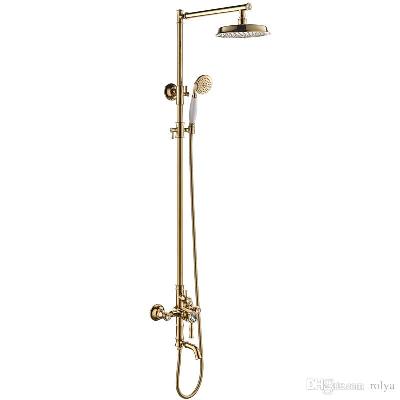 Rolya Luxurious Bathroom Shower Set Wall Mounted Golden Bath Mixer ...