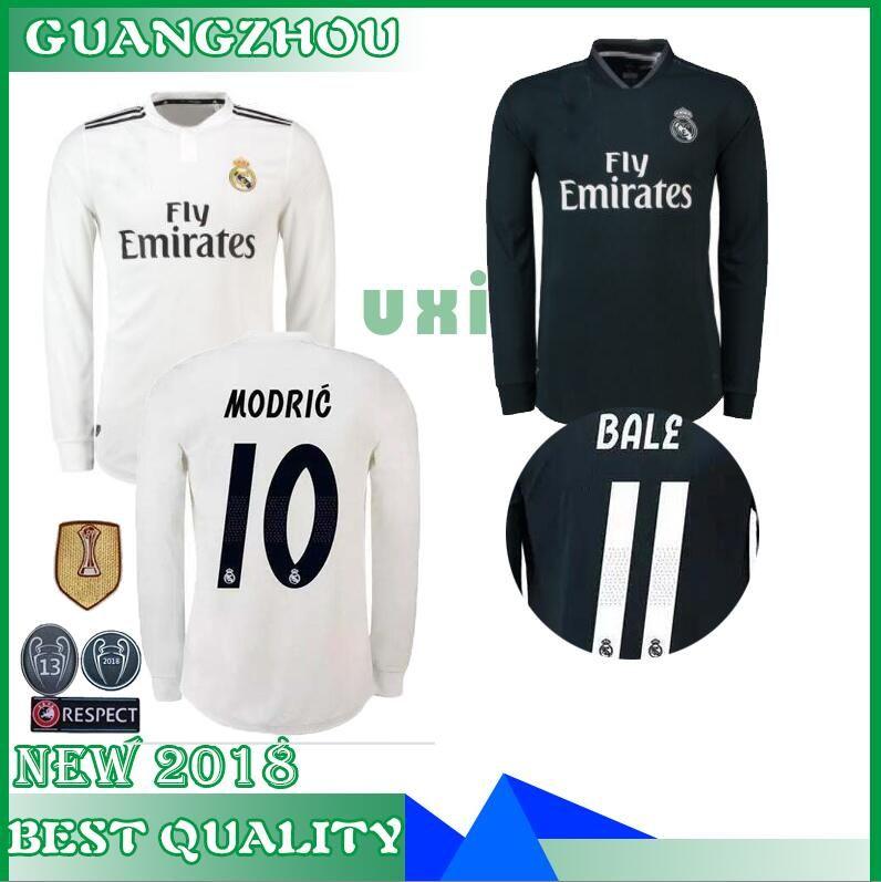 brand new 5a0b6 5cc88 Real madrid Ronaldo Modric Long sleeve Soccer Jersey Benzema 18 19 ISCO  Madrid Kroos Sergio Ramos Bale Marcelo 2018 2019 ASENSIO shirt