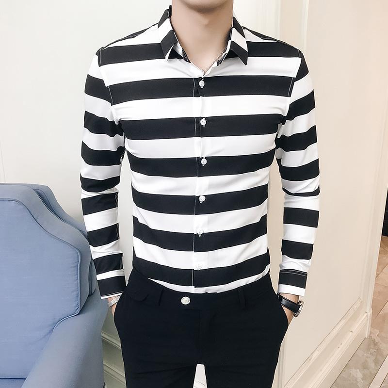 quality design 386fd b920d 2018 Korean Fashion Männer Gestreifte Shirts Langarm Schwarz Blau Streifen  Männer Hemd Slim Fit Casual Männer Chemise Social Männlich Shirt
