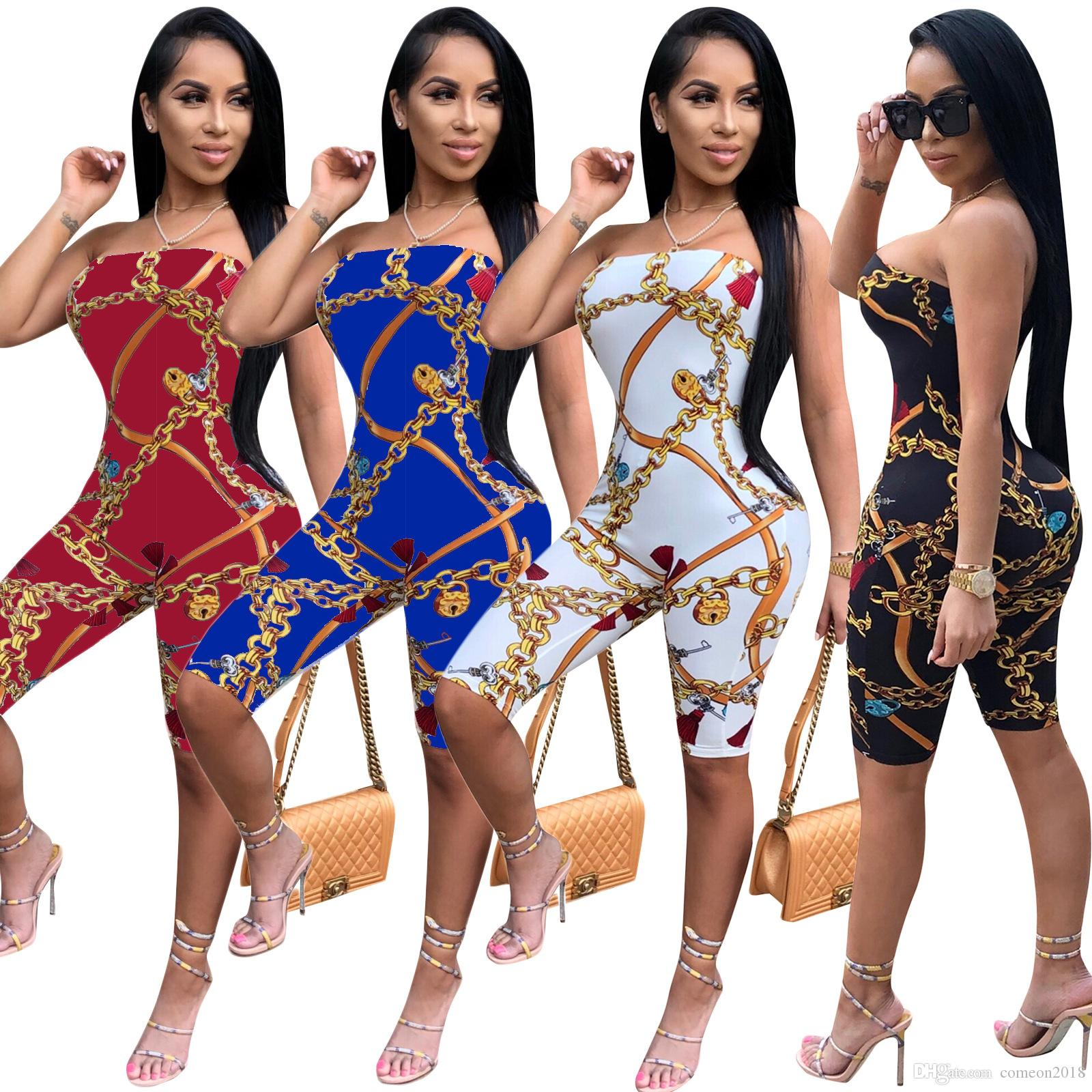 2a0e41c21f20 2019 Hot Selling Women Clothes Off Shoulder Rompers Slash Neck Women  Bodycon Jumpsuit 2018 Chain Print Paisley Bodysuit Playsuit Vestidos From  Comeon2018
