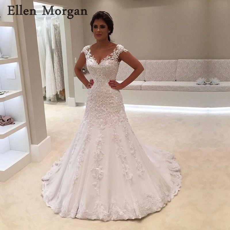 Ivory V Neck Mermaid Wedding Dresses 2018 Summer Beach Garden Sexy  Appliques Lace Beaded Zipper Merry Bridal Gowns Modest Wedding Dresses  Pakistani Wedding ... 02aba84ea142
