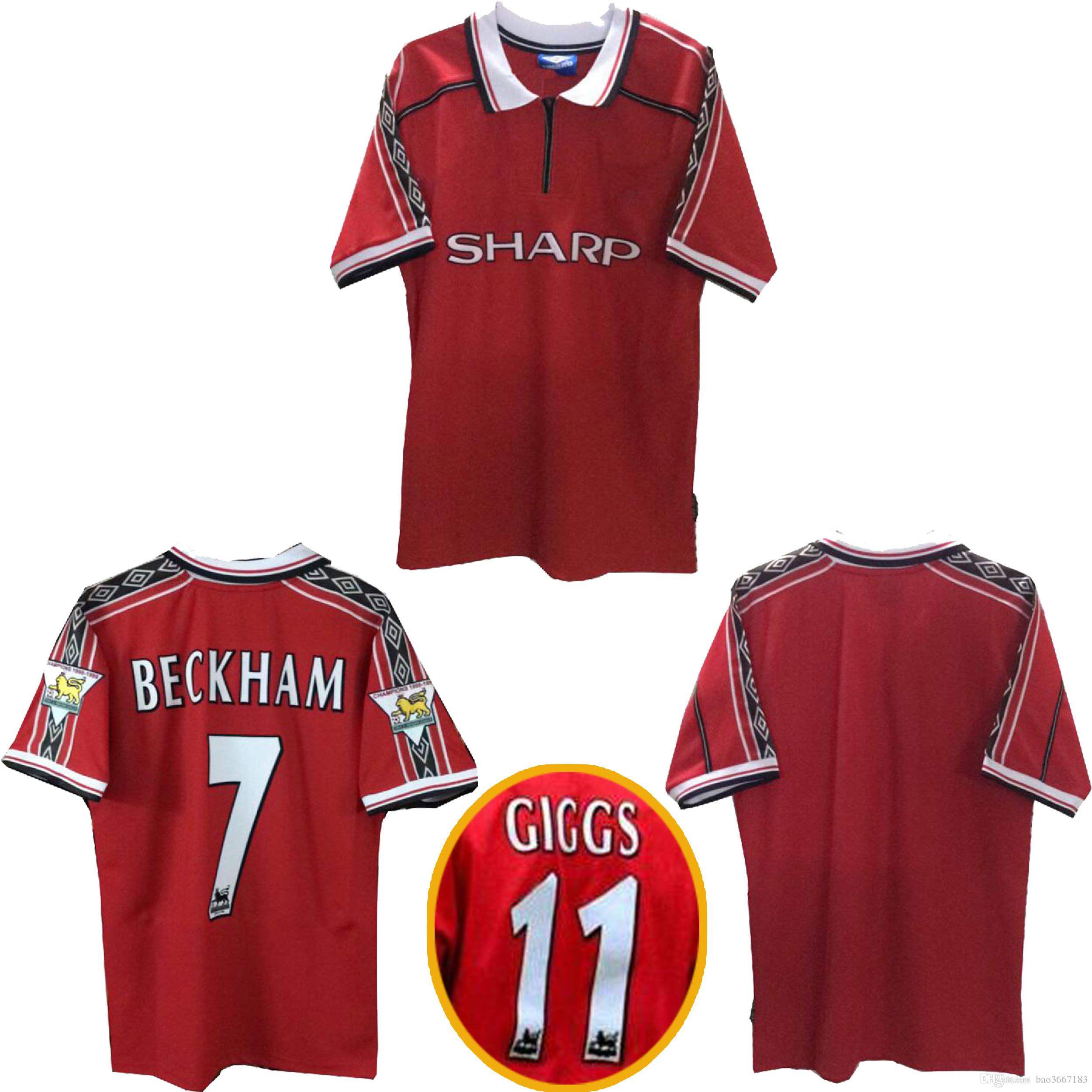 f19c84d3a 2019 Thai Quality 1998 1999 Man Unite Retro Soccer Jerseys 1998 1999 BECKHAM  Giggs Football Shirt 1998 1999 Man Unite Legendary Retro Jersey From  Bao3667183 ...