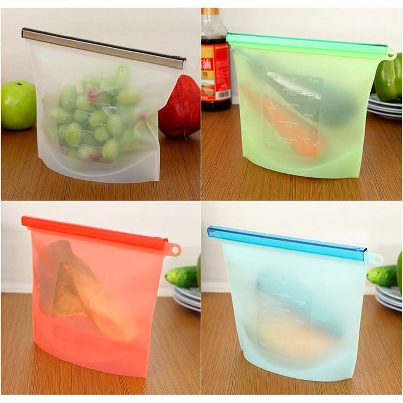 Reusable Silicone Food Bag Airtight Seal Bags Preservation Fridge Food Storage Containers Refrigerator Bag Kitchen Colored Ziplock Bags new