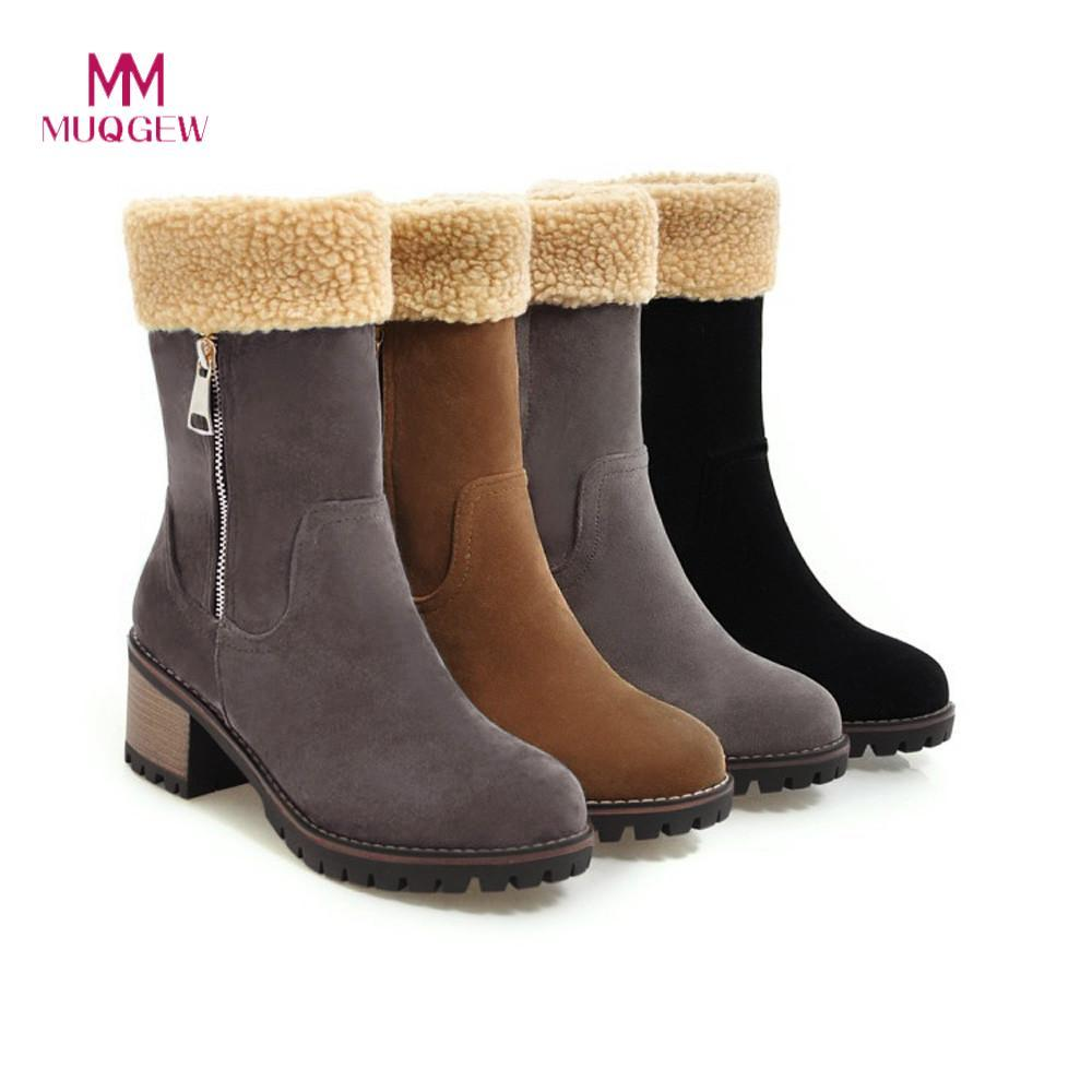 6ca5723f8376 2019 Winter Snow Boots Woman Women S Ladies Warm Shoes Flock Warm Boots  Martin Snow Boots Short Bootie Zapatos De Mujer Grey Boots Brown Ankle Boots  From ...