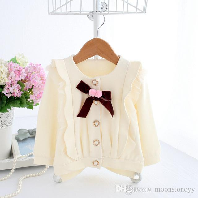 309ce27f787a Baby Girl Cardigan Ivory Baby Coat Ruffle Shrug With Velvet Bow Pearl  Button Baby Clothes Toddler Girl Tops Outerwear Toddler Girl Cardigans  Toddler Black ...