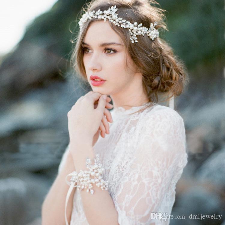 European Crystal Pearls Bridal Headpieces Wedding Veil Headbands Tiaras Women Frontlet Hair Band Headwear Girls Party Dress Hair Accessories