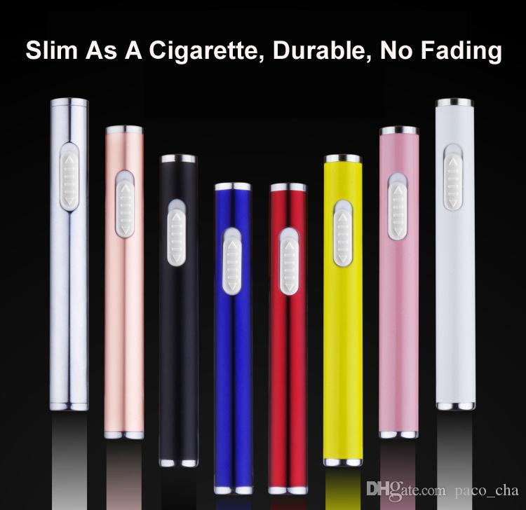 Wholesale Extremely Slim Chargeable lighter USB 2.0 Slender As a pencil Low Power & Charging finished Indicator