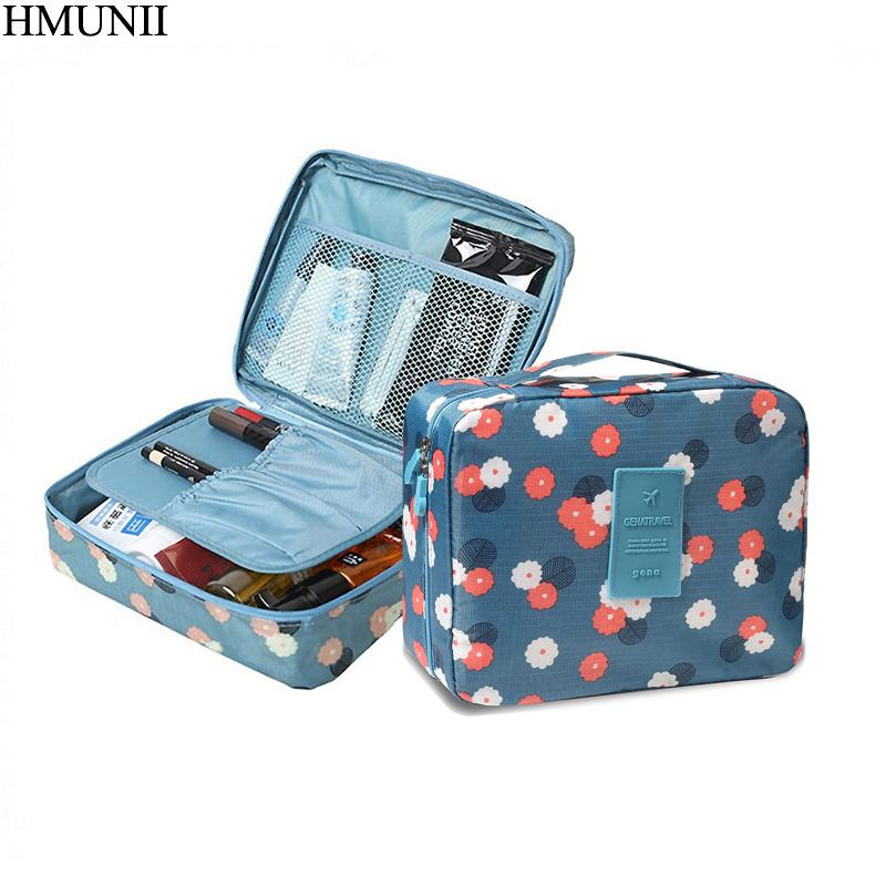 2423c630c1f HMUNII Makeup bag Cosmetic bag Case Make Up Organizer Toiletry Storage  Neceser Rushed Floral Nylon Zipper New Travel Wash pouch