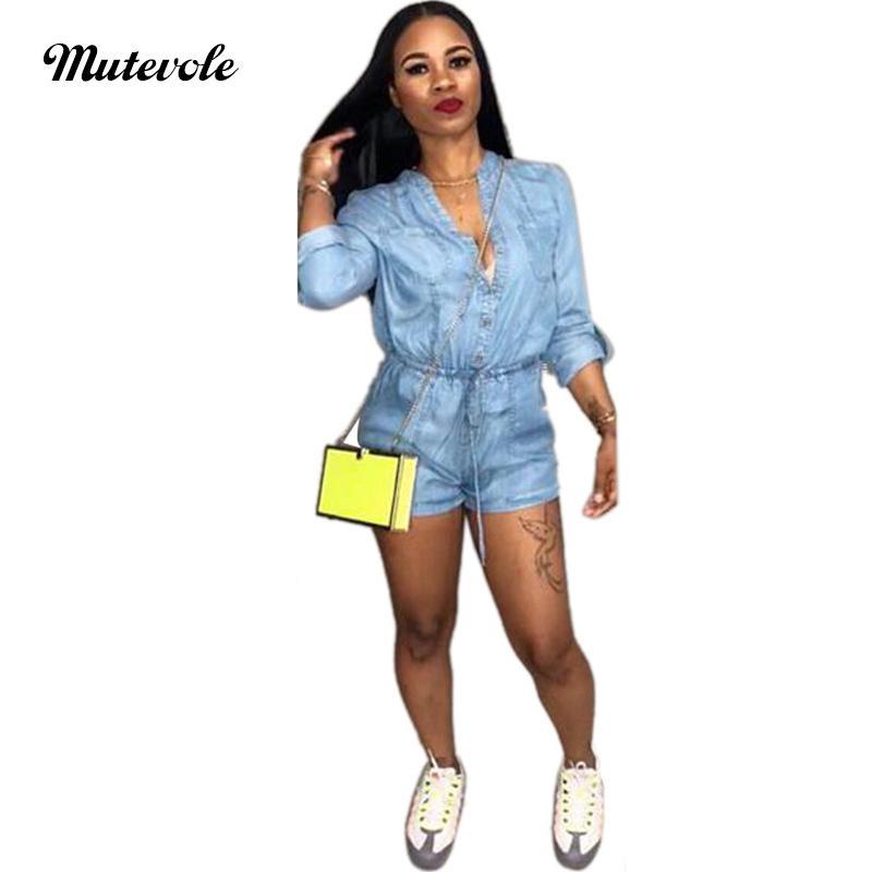 info for 69edd e6d52 Mutevole PLUS SIZE Donna Tuta di jeans Tuta Sexy scollo a V Jeans a maniche  lunghe Tuta Bottone Tasca aderente Denim Breve Pagliaccetto