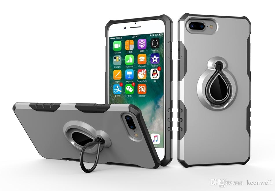 best website dc674 8169b Heavy Duty Kickstand Cases For iPhone 7 8 Case Armor Magnetic Ring Cover  For iPhone7 8 Plus 8 Plus Hybrid Shockproof Phone Cases