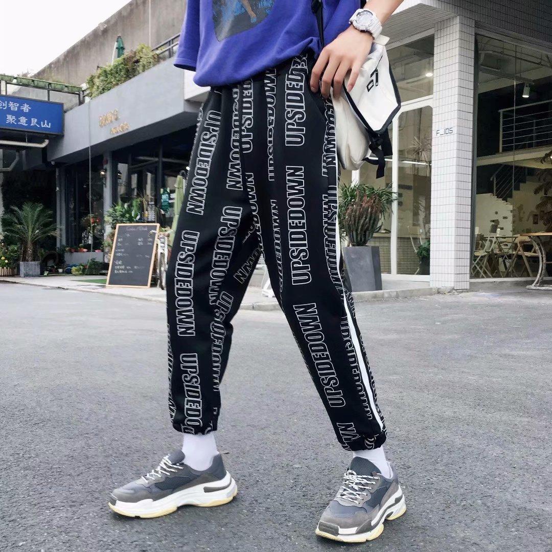 Acheter Ins Automne Gym Hommes Pantalons Joggers Pantalon De Jogging Lettre  Imprimer Hip Hop Rayé Lâche Jogging Pantalon Vêtements De Sport Casual ... 8cfc3a5e4ba