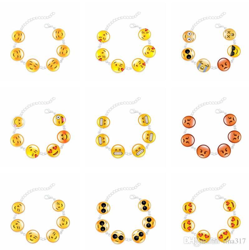 Neue Kreative Lustige Emoji Glas Cabochon Charme Armband Einstellbare Schmuck Kette Link Armbänder für Frauen Geschenke T2C277