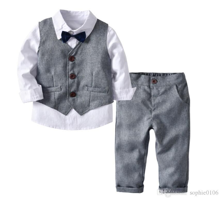 cee296e21f19 Boy Grey Waistcoat + Long Sleeve T-shirt + Pants + Bowknot Set Four ...