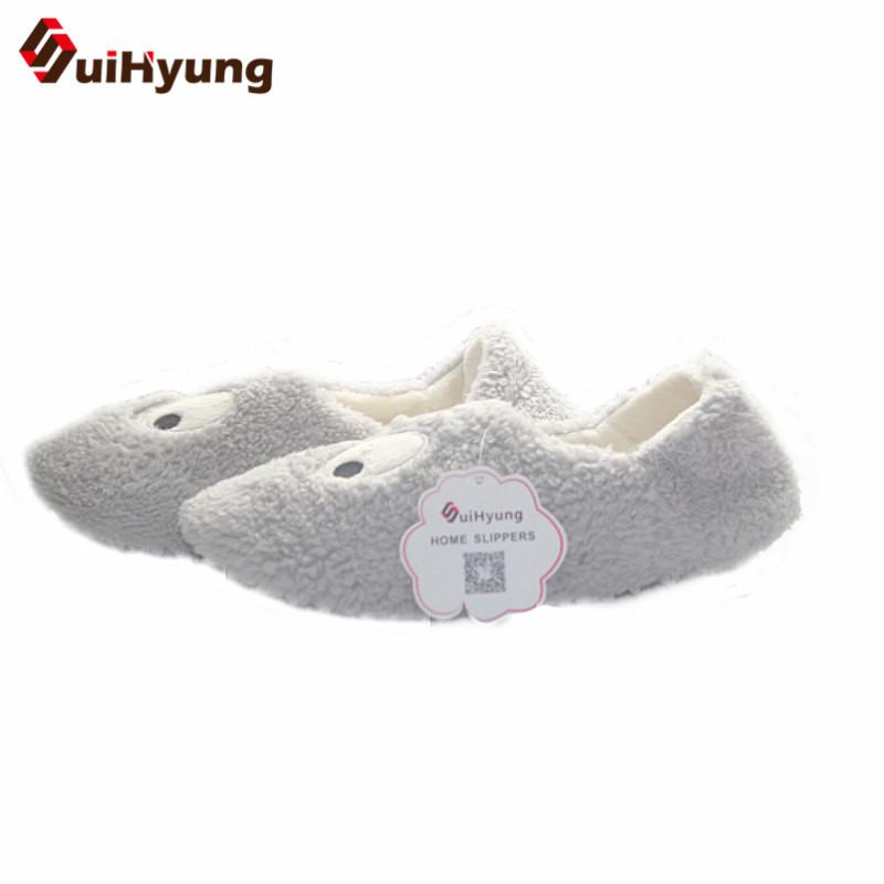 Suihyung New Women Winter Home Slippers Indoor Shoes Warm Furry Big Eyes Cotton Slippers Girl Soft Bottom Bedroom Floor Slippers