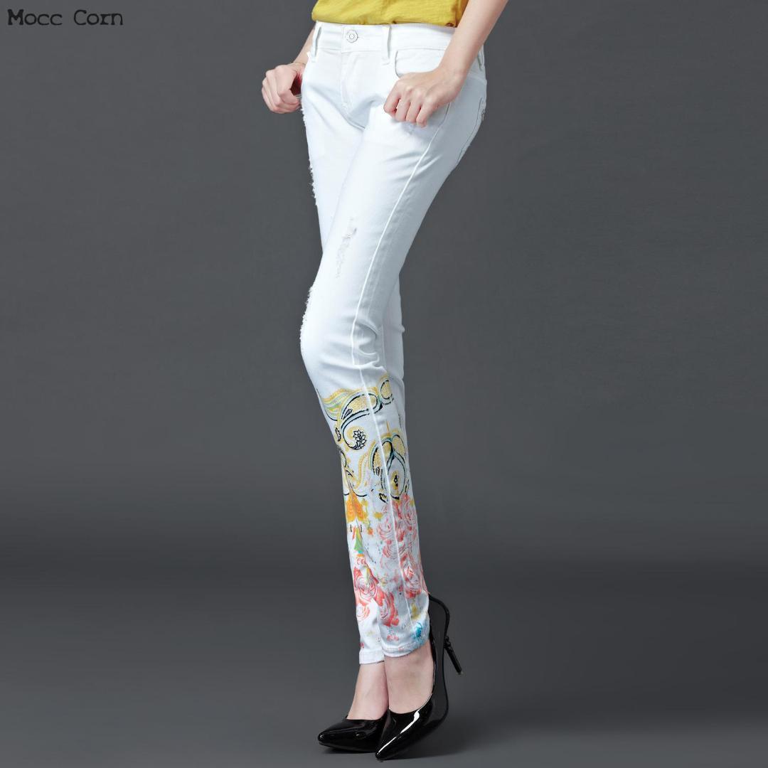 9100b8b6896 Compre Mocc Maiz Algodón Pintado Pantalones Vaqueros Blancos Mujer  Estampado Estiramiento Pantalones Vaqueros Delgados Pantalones De Mezclilla  Lápiz Jean ...