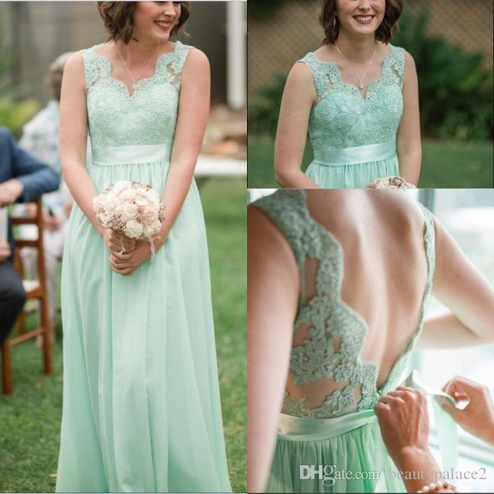 95565d9fe81 Hot Sell Mint Green Lace Chiffon Bridesmaid Dresses 2018 Backless With Sash  Floor Length Wedding Guest Dress For Summer Boho Weddings Champagne Colored  ...