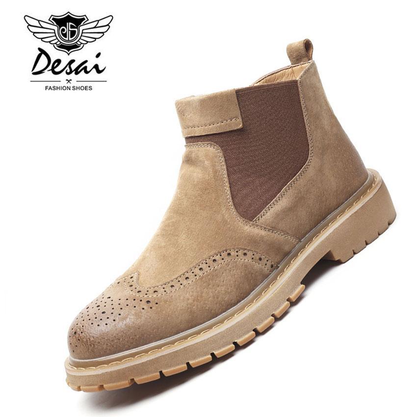 b34d45addbe Compre Invierno Cálido Zapatos De Cuero Genuino Hombres Estilo Británico  Zapatos Casuales Hombres Botas De Moto Nueva Moda Oxfords Tamaño 38 ~ 44  Cuatro ...