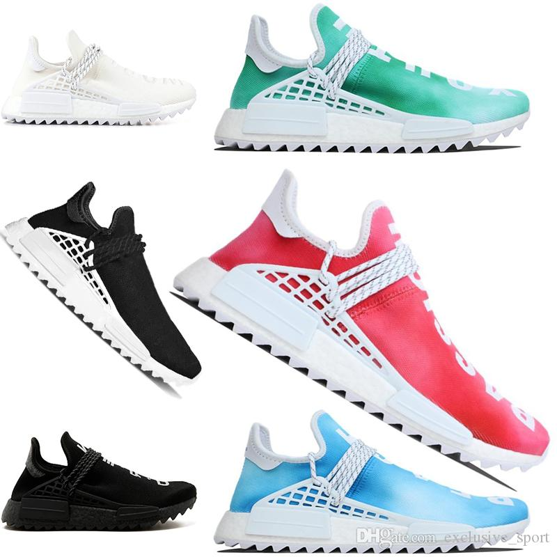 b1319caf8 Designer Human Race Running Shoes Pharrell Williams Hu Trail Cream Core Black  Nerd Equality Trainer Men Women Sports Sneaker Big Size 5 12 East Bay Shoes  ...