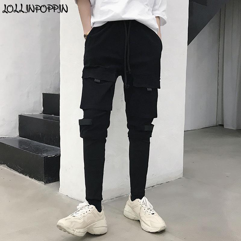 798129efaea2f Compre Streetwear Punk Men Pantalones De Lápiz Negro Slim Fit Patchwork  Design Multi Bolsillos Pantalones De Hip Hop Con Cintas Laterales Cintura  Elástica A ...