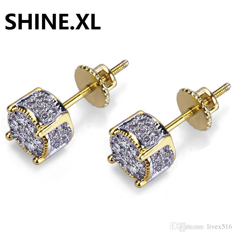Hip Hop Cubic Zirconia Stud Earrings for Men Tow Tone Iced Out Round Earring Hypoallergenic for Sensitive Ears with Screw Backs
