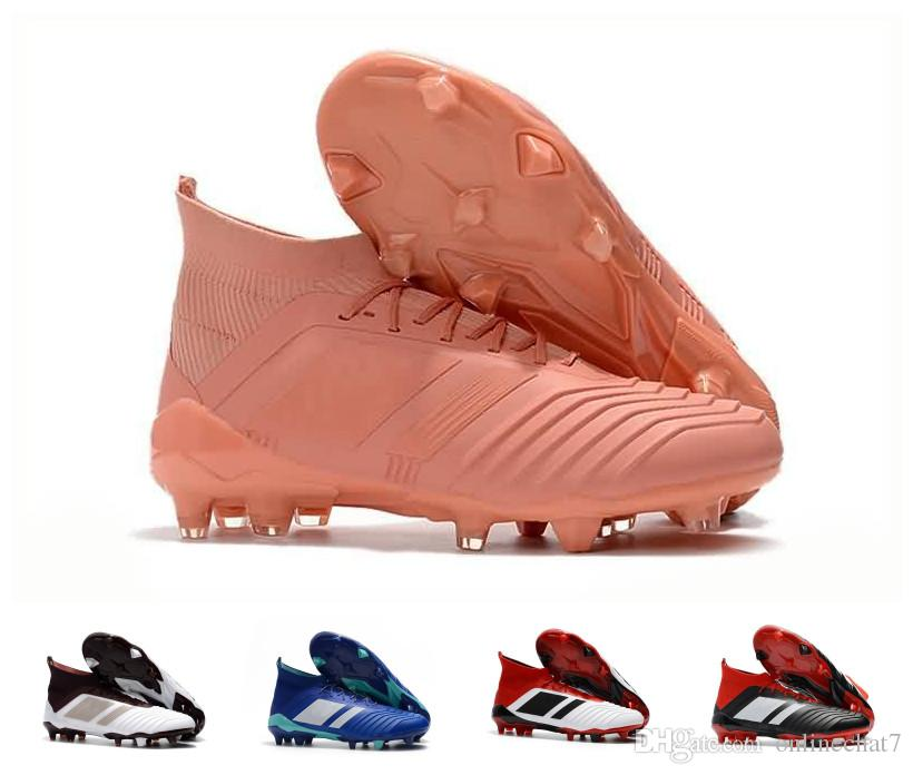new styles 0182d d2c67 2019 High Top Predator 18 FG Men Soccer Cleats Chaussures De Football Boots  Mens Predator Accelerator Cristiano Ronaldo Soccer Indoor Shoes From  Onlinechat7 ...
