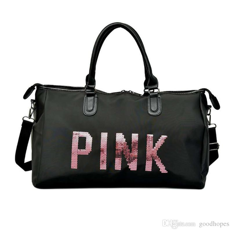 Pink Letter Sequins Travel Bag Large Capacity Women Duffle Handbag  Waterproof Luggage Shoulder Bag Outdoor Sports Beach Totes Best Gym Bags  Large Duffel ... e2aa091903