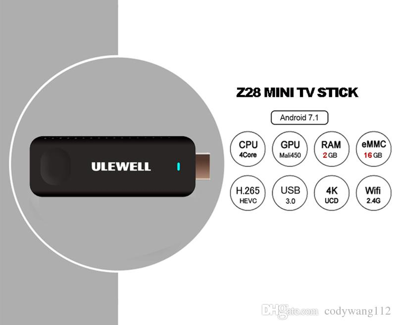 2018 Sıcak Z28 MINI PC Ulewell Android 7.1 TV Kutusu Dört Çekirdekli RK3328 2 GB 16 GB 2.4G WiFi Bluetooth Medya Oynatıcı Frire sticker