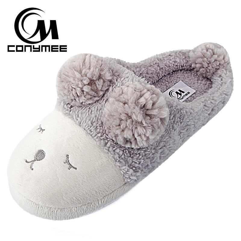 477cdb83cca5 Winter Woman Shoes Home Slippers Cute Animal Indoor House Shoes For Women  Fur Slippers Soft Plush Warm Slipper Floor Shoes White Boots Shoes Uk From  ...