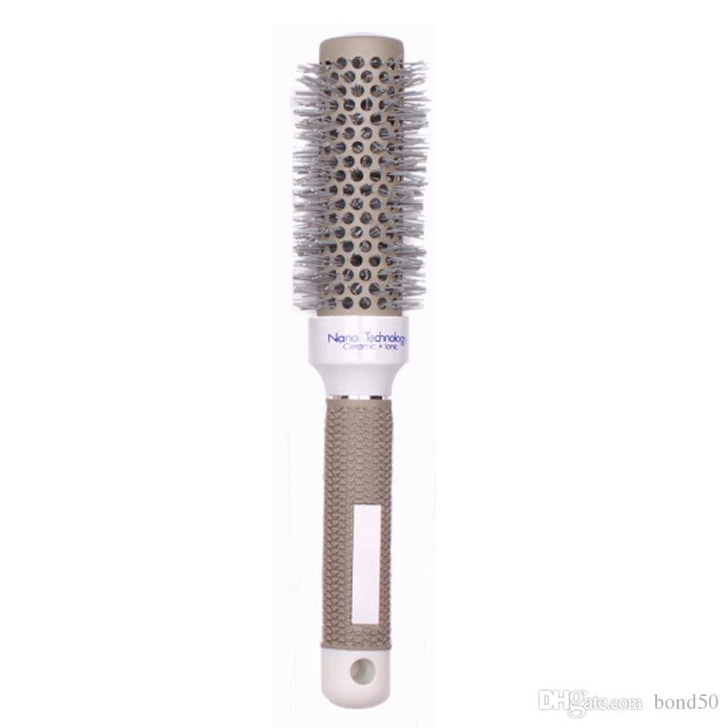 Ceramic Round Brush Hair Salon Styling Temperature Color Change Ceramic Iron Radial Round Hairdressing Barrel Curler Brushes Comb HA008