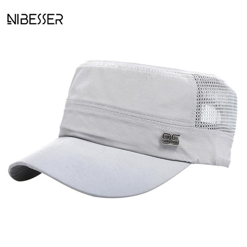 9ebc69105fa NIBESSER Hiphop Baseball Cap Men s Adjustable Cap Casual Flat Top ...