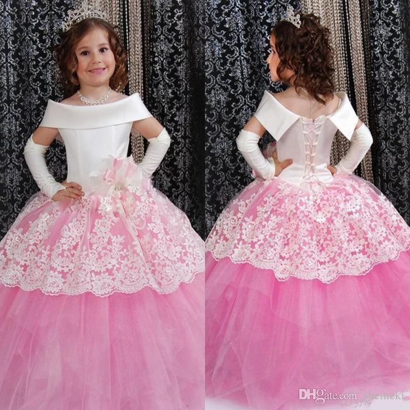 acec4aa40d611 2018 Pink Off The Shoulder Puffy Toddler Ball Gown Flower Girl Dresses Lace  Pageant Dress For Little Girls Comunion Formal Wear Vestidos De Yellow  Flower ...