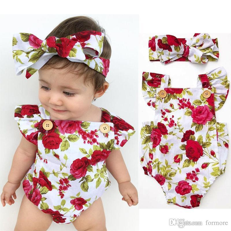 Baby Clothes Factory Newborn Babies Girls Clothes Flower Jumpsuit Bubble Romper Bodysuit + Headband Outfits