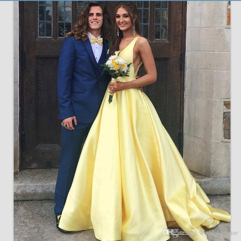 1e802ff6e24 Cheap Yellow 2019 Prom Dresses A Line V Neck Silk Sation Formal Evening  Gowns Sleeveless Sweep Train Long Girls Party Dress Juniors Prom Dresses  Lds Prom ...