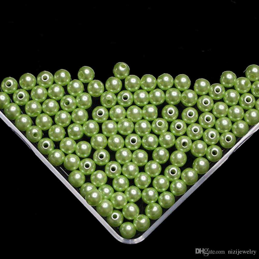 Light green Imitation Pearl Beads For Jewelry Making 6mm 8mm 10mm Resin Round Imitation Pearl Beads With Hole 100g/bag Many Sizes