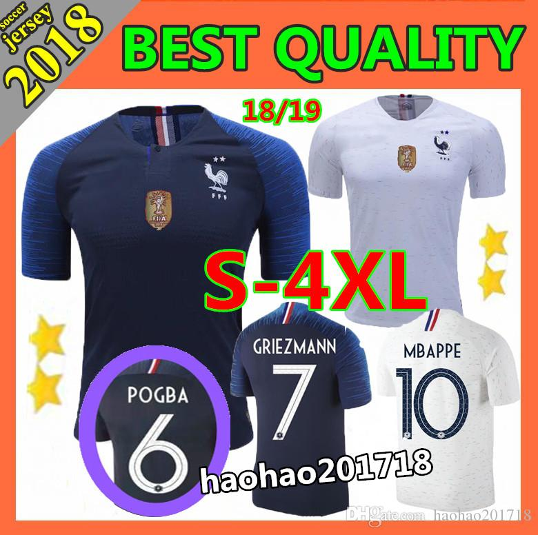 572591fa9d2 2 Stars World Cup 2018 Champion Mbappe GRIEZMANN Soccer Jerseys 18 ...