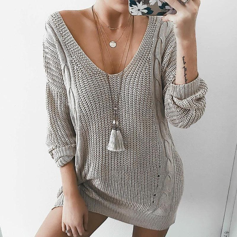 2019 V Neck Cable Knit Loose Women Pullover Oversized Sweater Dress From  Just4fashion 03235fe55